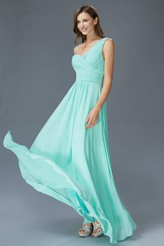 Prima Bella Exclusive Collection G2028 Long One Shoulder Chiffon Bridesmaid Dress or Formal. Breezy simple yet elegant chiffon one shoulder evening gown. Bridesmaid, Mother of the Bride/Groom or forma