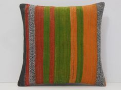 orange kilim pillow green throw pillow red by DECOLICKILIMPILLOWS