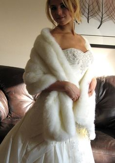 Ivory / Off White Wedding Faux Fur Stole without beads by Vladana, $89.00