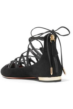Aquazzura - Maya Leather-trimmed Suede Point-toe Flats - Black - IT37.5