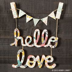 Handwritten chipboard words make a lovely addition to any craft project! To coordinate the word with your decor, apply pretty paper with Mod Podge and let dry. Next, use an X-ACTO knife to cut paper around the word before adding a final coat of Mod Podge for darling results.