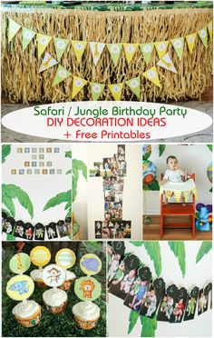 Safari Jungle Themed First Birthday Party Part III – DIY Decoration Ideas + Free Printables Included! | Roxy's Kitchen