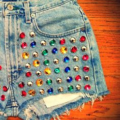 "@omeneye's photo: ""Preview of the new Presley shorts, only available at OMENEYE.COM #fashion #style #highwaisted #vintage #cutoffs #omeneye #studdedshorts #studded #shorts #LA #want #hipster #girl #hot #jeweled #jewels #rainbow"""