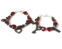 Red & Silver Key Lock Mother Daughter by sweetdreamzdesigns, $21.00