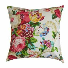 """Cotton pillow with a floral motif and feather-down fill. Made in the USA.    Product: PillowConstruction Material: Cotton cover and 95/5 feather-down fillColor: SpringFeatures:  Hidden zipper closureMade in the USAInsert included Dimensions: 18"""" x 18""""Cleaning and Care: Spot clean only"""