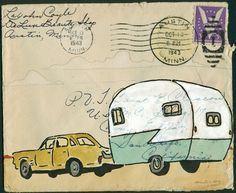 Adventure, a Small and Affordable Original Art Piece on 1943 Envelope. $60.00, via Etsy.