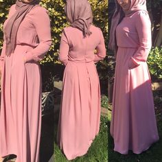 "8 Likes, 2 Comments - Allure.Abayas (@allure_abayas) on Instagram: ""Beautiful nude pink abaya - dress with lovely gold buttons on the sleeves available in size 10 and…"""