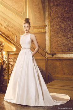 paloma blanca fall 2016 bridal sleeveless round neckline simple clean bodice…