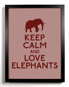 I definitely agree with this message - from Etsy http://www.etsy.com/listing/82007620/keep-calm-and-love-elephants-elephant-8