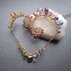 14k gold filled multi-gemstone heart necklace