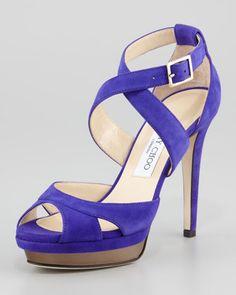 Kuki Suede Platform Sandal, Violet by Jimmy Choo at Neiman Marcus.