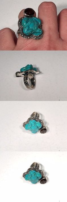 Gemstone 164343: Designer Amy Russell Carved Turquoise Frog And Smoky Quartz Silver Ring Size 7 -> BUY IT NOW ONLY: $59 on eBay!