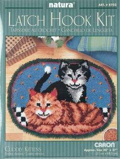 Vintage Sew Simple Latch Hook Kit PLAYFUL KITTENS Easy Follow Instructions