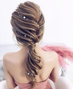 Idée Tendance Coupe & Coiffure Femme 2018 : : 53 Fabulous Ideas of Wedding Hairstyles & Haircuts in 2018 - wedding and engagement photo Hairstyles Haircuts, Pretty Hairstyles, Braided Hairstyles, Mermaid Hairstyles, Hairstyle Ideas, Perfect Hairstyle, Ponytail Hairstyles For Prom, Winter Wedding Hairstyles, Fairy Hairstyles