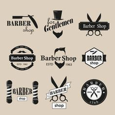 logotipos barbearia retro set. Vector Design Elements. Barbershop, Vector Design, Royalty Free Images, Design Elements, Branding, Magic, Templates, Stock Photos, Logos