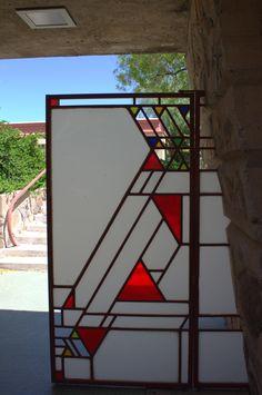 Art Glass in gate. Taliesin West, Scottsdale, Arizona. Frank Lloyd Wright's winter home and studio. 1937