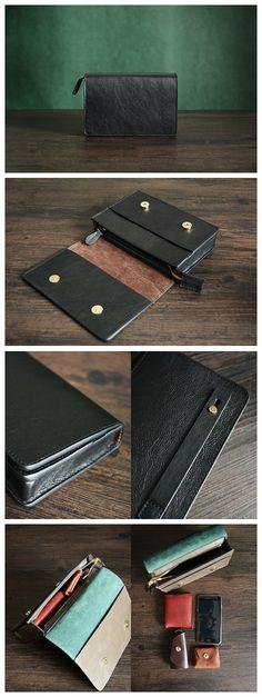 Mens' Vintage Genuine Leather Clutch Purse Men Business Clutch Hand Bag Cowhide Wallet