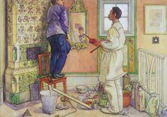 """My Friends, The Carpenter & The Painter"" by Carl Larsson (1853-1919) Swedish Painter & Interior Designer"