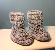 Handmade Crochet Baby Girl Boots with Foldover by MadeInFlight, $9.00