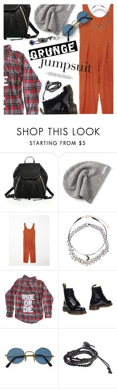 """""""Jumpsuits - The Grunge Edition"""" by ivansyd ❤ liked on Polyvore featuring Rebecca Minkoff, Converse, BLACK CRANE, Monsoon, Dr. Martens, Chan Luu, Arizona, grunge and sleevelessjumpsuits"""