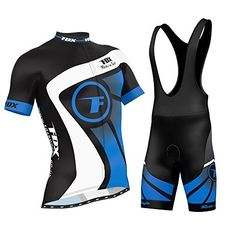 FDX Mens Cycling Jersey Half Sleeve Racing Team Breathable Biking Top  BiRiding Bib Shorts Set Blue Medium * Details can be found by clicking on the image.Note:It is affiliate link to Amazon.