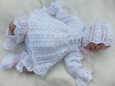 Knitting Pattern to Make C * L * o * V * E * R 4 Piece Matinée Set for baby or reborn doll Baby Knitting Patterns, Baby Patterns, Doll Patterns, Hand Knitting, Reborn Dolls, Reborn Babies, Baby Dolls, Baby Layette, Knitted Baby Clothes