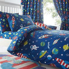 bluezoo Kids' blue space print bedding set | Debenhams