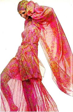 Ann Turkel, Pretty in Pink c. 1970  Groovy 1960s / 1970s Vintage Haute Couture Silk Jumpsuit  and Matching Scarf Bandana .... FASHION RISK , BUT I LOVE IT   -Rich Beverly Hills Fashion Kid ;)