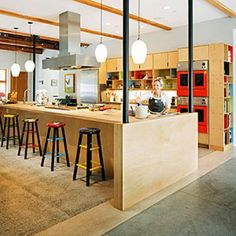 A colorful open kitchen