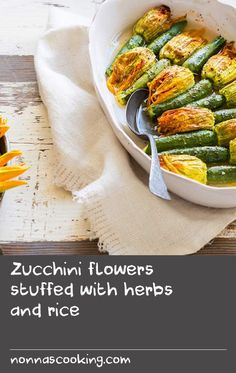 A wholesome Greek dish of stuffed zucchini flowers, using a filling of rice, tomato, dill and mint. Listen as Susie Rerakis breaks down her very own recipe. Dill Recipes, Herb Recipes, Italian Recipes, Vegan Recipes, Greek Fish Recipe, Zucchini Flowers, Stuffed Tomatoes, Stuffed Zucchini, Greek Dishes