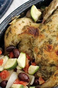 There's no reason pesto has to be relegated to pasta! This zesty chicken-and-veggie slow-cooker meal is so easy—and a great way to cook a whole chicken. For extra flavor, toss the veggies with Italian seasoning before cooking.