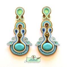 Set Turquoise Soutache Orecchini Swarovski di DILETTANTEsoutache