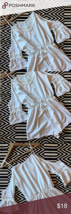 Fashion white romper shorts with crochet detail Like new condition. Fashion white romper shorts with crochet detail. Size L. Measurements pictured. Pants Jumpsuits & Rompers