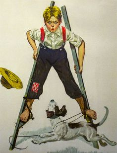 Boy on Stilts by Norman Rockwell.  ~ Papa made stilts for me and I had so much fun with those things!!  ~ Libby