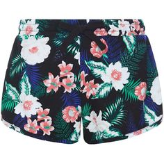 New Look Black Floral Tropical Print Shorts (45 ILS) ❤ liked on Polyvore featuring shorts, bottoms, black pattern, floral pattern shorts, floral shorts, patterned shorts, flower print shorts and summer shorts