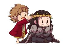 I can imagine this happening. Thorin sitting, being all majestic, then this happy little hobbit comes up and puts a daisy crown on him!