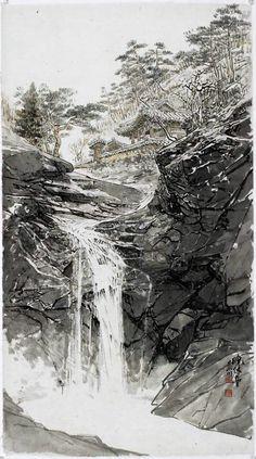 Korean Painting, Japanese Painting, Chinese Painting, Chinese Art, Japanese Art, Waterfall Drawing, Waterfall Paintings, Rock Waterfall, Traditional Landscape
