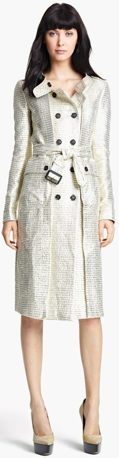 Burberry Prorsum belted metallic jacquard trench...Nordstrom