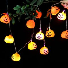 2.5M Pumpkin Lantern Skull String Light 16 LED Pumpkin Lights Halloween Decor in Home & Garden, Lighting, Fans, String Lights | eBay!