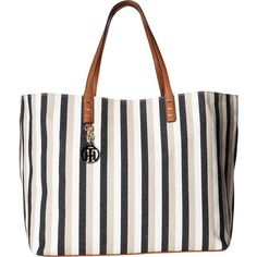 Tommy Hilfiger Beach Tote (Black/Khaki) Tote Handbags ($50) ❤ liked on Polyvore featuring bags, handbags, tote bags, multi, canvas beach bag, handbags totes, zip tote, beach bag tote and zippered canvas tote bag