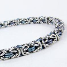 Chainmaille Bracelet  Blue Titanium  Byzantine by ChainmailleByBim, $52.00