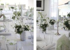 Floras Frue: konfirmasjon Flower Centerpieces, Tablescapes, Table Settings, Table Decorations, Party, Flowers, Inspiration, Furniture, Fest
