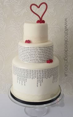 Quirky text wedding cake with red heart. A great way to include a meaningful story or poem, song lyrics or vows onto your wedding cake.