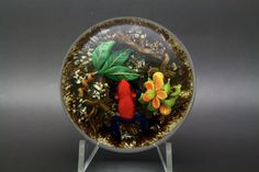 "Authentic Gordon Smith Red Frog & Flower Art Glass Unique Paperweight,Ap 3""Wx2""H  