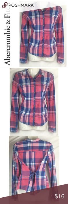 "Abercrombie & Fitch Womens Flannel Shirt With Tie Abercrombie & Fitch Womens Red And Blue Flannel Shirt With Back Tie Size Small   Measurements-  Bust:36""  Waist: 33""  Length: 24""    Customer service is my #1 priority! I strive to not only meet, but to exceed the standard. If for any reason you are unhappy with your order, I will make it right!    Thank you for choosing small business! ❤️ Abercrombie & Fitch Tops Button Down Shirts"
