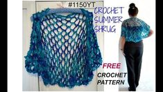 DIY- CROCHET SUMMER SHRUG PATTERN, free pattern on Ravelry - #1150YT, SMALL, MEDIUM, LARGE, XL, PLUS SIZE. GET THE FREE CROCHET PATTERN HERE:  ...  KNITTED VERSION: youtube video: https://ww. Diy, Crochet, Pattern, Crochê, Summer,