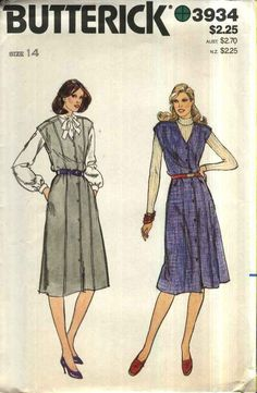 Butterick Sewing Pattern 3934 B3934 Misses Size 14 Button Front Princess Seam A-Line Jumper    Butterick+Sewing+Pattern+3934+B3934+Misses+Size+14+Button+Front+Princess+Seam+A-Line+Jumper
