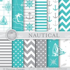 "NAUTICAL Digital Paper GREY & TEAL Seamless Pattern Prints, Instant Download, 12"" x 12"" Paper Pack Sailboat Boy Patterns Scrapbook Print"