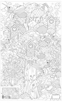 KEK Amsterdam XXL Kleurplaat papier zwart wit 91x150cm, In het bos - wonenmetlef.nl