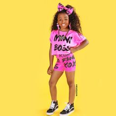 Mini Boss Neon Pink Sequin Short Set w/ matching bow Neon Outfits, Cute Swag Outfits, Colourful Outfits, Colorful Clothes, Kids Outfits Girls, Little Girl Outfits, Cute Outfits For Kids, Kid Outfits, Cute Kids Fashion